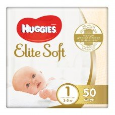 Huggies Elite Soft 1 (до 5 кг) Jumbo 50 шт