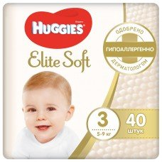 Huggies Elite Soft 3 (5-9 кг)  40  шт